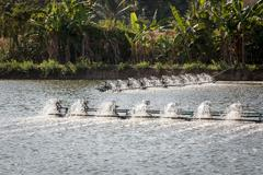 Aerators working at an inland fish farm in Thailand - stock photo