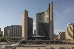 Hyperlapse / Timelapse of Toronto's City Hall Stock Footage