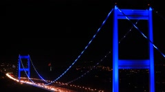 FSM Bridge in blue. One of a series of films of Fatih Sultan Mehmet Bridge Stock Footage