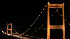 FSM Bridge in yellow. One of a series of films of Fatih Sultan Mehmet Bridge Stock Footage