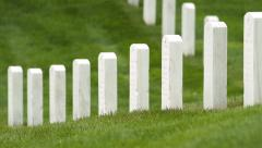 Tilt Up Shot of Rows of Headstones at Arlington Stock Footage