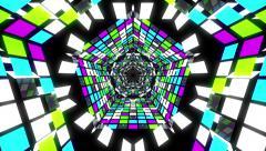 VJ Loop Colorful Pentagonal Tunnel Stock Footage