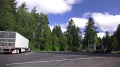 Reststop in Oregon, pan right Stock Footage