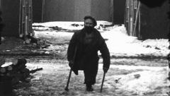 Disabled Handicapped Man Walk Depression Era 1930s Vintage Film Home Movie 8468 Stock Footage