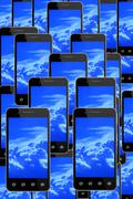 Smart-phones with image of blue sky Stock Illustration