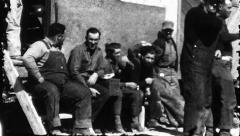 Break Time Men Rest Worker Construction 1940s Vintage Film Retro Home Movie 8469 Stock Footage