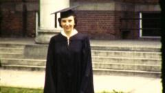 Proud Young Woman College Graduate 1960s Vintage Film Retro Home Movie 8472 Stock Footage