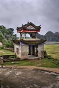 Masonry arbor pagoda in scenic farming area rural China, Guangxi. Stock Photos