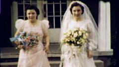 Happy Bride Bridesmaid WEDDING Marriage 1940s Vintage Film Home Movie 8473 Stock Footage