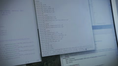 Writing Code on Computer Programing Screen Stock Footage