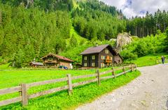 Country road to an alpine house, Austria - stock photo