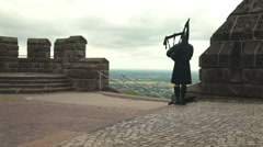 Bagpipe Player, Castle - 01 Stock Footage