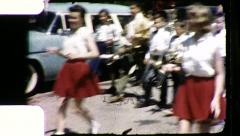 Children Kids Marching Band in Parade Vintage Film Retro Home Movie 8481 Stock Footage