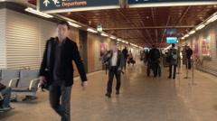 Travelers Inside Keflavík International Airport REYKJAVIK, ICELAND Stock Footage