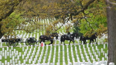 Military Funeral Procession at Arlington Stock Footage