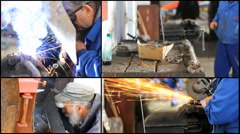 Multi collage screen Factory Metal Hard Work ,Welder man grinding at the factory Stock Footage