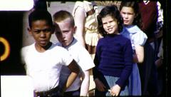Stock Video Footage of Black White Children Together Racial Integration Vintage Film Home Movie 8488