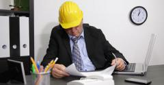 Tired Engineer Man Fall Asleep Working Break Time Nap Sleep Office Interior Work Stock Footage