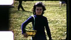 Girl EASTER Basket EGG Hunt Children Kids 1960s Vintage Film Home Movie 8493 - stock footage
