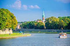 Vistula river and Jewish district, Cracow, Poland - stock photo