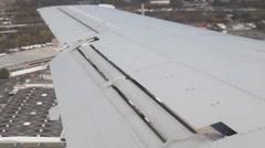 View on aeroplane wing during landing Stock Footage