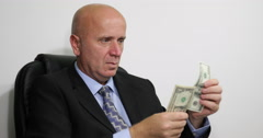 Successful Businessman Counting Dollars Office Interior Man Hand Count Usd Bills Stock Footage