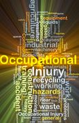 Occupational injury background concept glowing - stock illustration