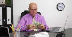 Office Man Counting American Dollars Bills Business Person Sorting Usd Banknotes - stock footage