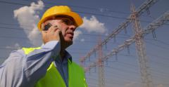 Maintenance Call Support Engineer Man Supervisor Talk Mobile Phone Power Supply Stock Footage