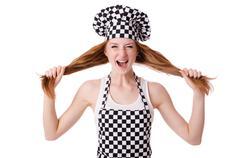 Female chef isolated on white Stock Photos