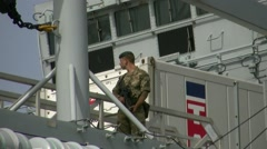 British navy give aid to immigrats in south italy Stock Footage
