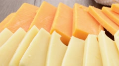 Sliced cheeses Stock Footage