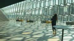 Tourist in Harpa in ICELAND Stock Footage