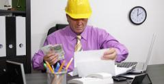 Frustrated Engineer Man Struggle Bills Stack Invoices Unhappy Stressed Pressure Stock Footage