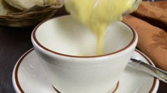 Cream of broccoli soup Stock Footage