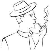 Stock Illustration of Man smoking a pipe