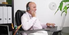 Helpful Man Customer Service Support Call Center Help Line Conversation Internet - stock footage