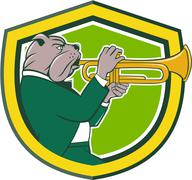 Bulldog Blowing Trumpet Side Shield Cartoon - stock illustration