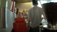Hamburger and French Fries Restaurant Stock Footage