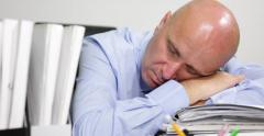 Pan View Accountant Sleeping Overworked Overtime Tired Businessman Sleep Office Stock Footage