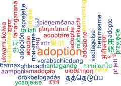 Adoption multilanguage wordcloud background concept Stock Illustration