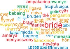 Bride multilanguage wordcloud background concept - stock illustration