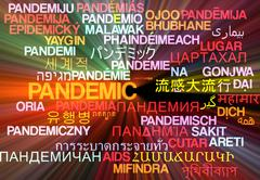 Pandemic multilanguage wordcloud background concept glowing Stock Illustration