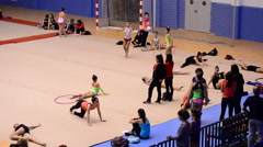 Young gymnasts training at a field before a tournament Rhythmic Gymnastics - stock footage