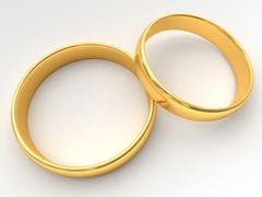 Wedding gold rings lie on each other - stock illustration