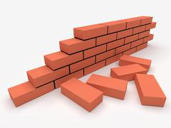Brick wall. Concept of building and construction. Stock Illustration