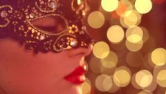 Venetian masquerade. Sexy woman wearing masquerade mask Stock Footage