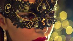 Venetian masquerade. Sexy woman wearing masquerade mask - stock footage
