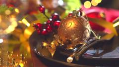 Christmas dinner. Holiday decorated table setting with turkey - stock footage