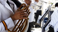 Town orchestra trumpet musicians Stock Footage